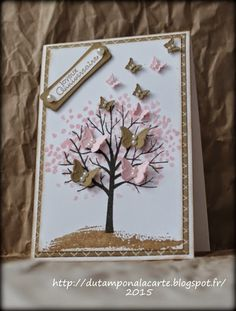 Sheltering Tree with butterflies. Du tampon @ la carte: anniversaire - carine