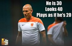 Plays as though he's 20 years old-not so sure in tonight's game-bit boring MT  @FootballJester Arjen Robben #NED Embedded image permalink