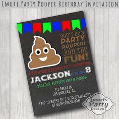 Emoji Poop Birthday Party Invitations Invite Printable