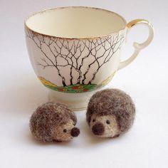 hedgehog tiny needle felt hedgehogs by Lybo on Etsy, $23.00