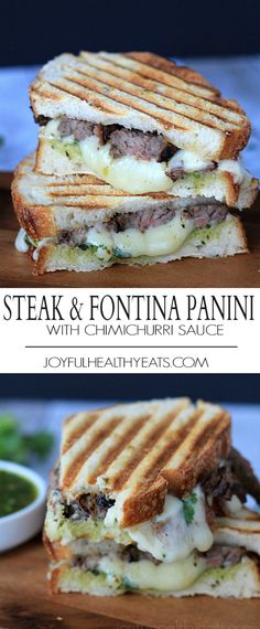 An amped up sandwich recipe using Grilled Fajita Steak, fontina cheese, and topped with a spicy fresh herb Chimichurri sauce for the ultimate Panini! | joyfulhealthyeats.com