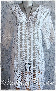 * Pérolas do Crochet: Túnica em crochet modelo Arezzo manga curta