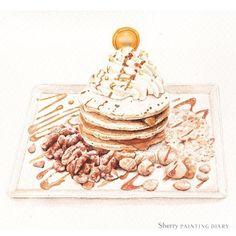 #水彩 / 工作ing...終於完成了!! #watercolor#paint#painting#draw#drawing#illustration#illustrator#pancake#dessert#nuts#art#artwork#article#sketch#winsorandnewton#teatime#taiwan#butter#taiwancafe#walnut#caramel#手繪#菜單#鬆餅#煎餅#核桃#夏威夷果