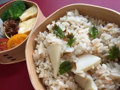 Steamed rice with bamboo shoots