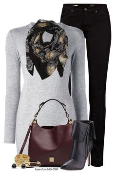 """""""Asymmetric Sweater"""" by houston555-396 ❤ liked on Polyvore featuring AG Adriano Goldschmied, Joseph, Sophie Darling, Mulberry, Neiman Marcus, ABS by Allen Schwartz and Michael Kors"""