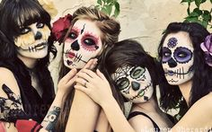 Day of the Dead Makeup {I love the skull with the flower petals below the eyes!}