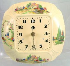China Dish Clock Cottage Porcelain Wall Clock by FineRedefined