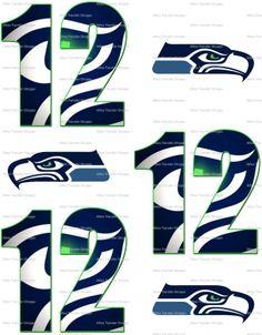 Seattle Seahawks Fan Number 12 & Hawks - 6 Iron On Heat Transfers, Crafts :: Other Crafts :: Bullszi.com