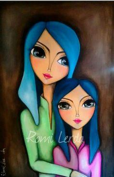Romi Lerda Obras Kunstjournal Inspiration, Art Journal Inspiration, Painting Inspiration, Art Pop, Abstract Face Art, Whimsical Art, Fabric Painting, Beautiful Paintings, Doodle Art