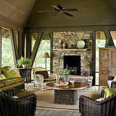 AMAZING Screened Porch on this lake house! Love the Stone Fireplace! This is outdoor living at its finest! Lakehouse Decor, House, Outside Living, Outdoor Rooms, Porch Fireplace, Lake House, Outdoor Fireplace, Screened Porch, Porch