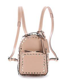 Valentino Beige Leather Mini 'rockstud' Backpack