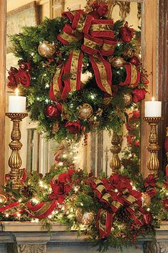 These beautiful Christmas mantel arrangements turn your fireplace into an eye-catching focal point for the holidays. Christmas Greenery, Christmas Fireplace, Christmas Mantels, Elegant Christmas, Noel Christmas, Victorian Christmas, Beautiful Christmas, Winter Christmas, Christmas Wreaths