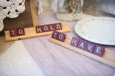 Fan of Scrabble or other board games? Check out this awesome place setting from the 2016 Denton Bridal Show, perfect for your unique wedding! Photo by @mmezeulii