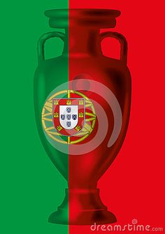 Vector file, illustration portuguese flag and euro football trophee