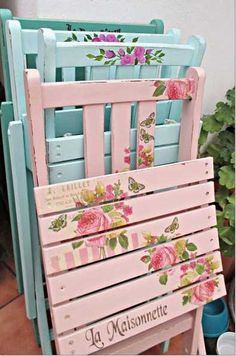 Vintage shabby chic chairs vintage flowers pretty country paint pastel diy southern refurbished distressed
