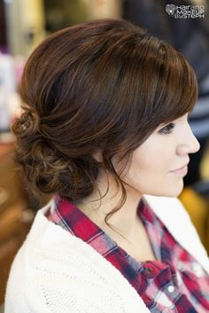 wedding hair - brown, wavy, up do, low bun. Perfect color and elegant style
