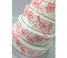 Coral Lace and Rhinestone Wedding Cake | Cakes for Occasions, Danvers, MA | www.cakes4occasions.com