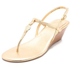 Tory Burch Emmy Demi Wedge Sandals ($250) ❤ liked on Polyvore