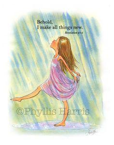 Inspirational Wall Art - Little girl dancing in the rain - Custom art for girl's room