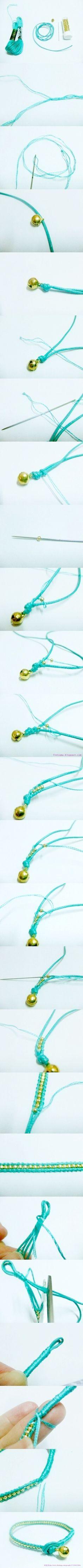 #DIY cotton #bracelet with beads | semplice e carino: #faidate braccialetto in cotone