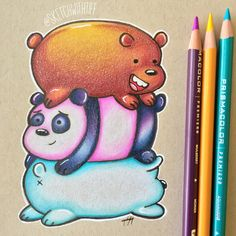 We Bare Bears by sketchwithtiff on DeviantArt - kunst - Easy Drawings Sketches, Cool Art Drawings, Pencil Art Drawings, Realistic Drawings, Kawaii Drawings, Colorful Drawings, Color Pencil Art, Colored Pencil Artwork, Cartoon Art Styles