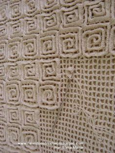 Crochet Rug Technique - crochet your mesh background then add rows of double…