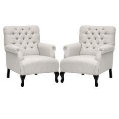 Set of 2 Medium size Joussard Linen Club Chair - Beige - $799.99 (DISCONTINUED)