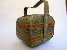 VIntage Chinese Wedding Basket - Woven Bamboo and Natural Grass on Etsy, $85.00