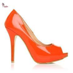 TIA - Chaussures à talons aiguilles - Plateforme - Bout ouvert - Orange - Vernis - 41 - Chaussures shuwish uk (*Partner-Link)