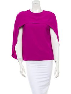 From the 2014 Collection. Fuchsia Balenciaga sleeveless Cady cape top with crewneck, cape overlay and back concealed zip closure. As seen on Nicole Richie.