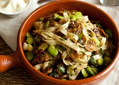 Fast Ed's Herb Fettuccine with Mushrooms and Broad Beans