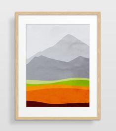 Mountain Print, Mid Century Modern Art Print, Abstract Watercolor Print, Scandinavian Art, Mountain Art, Abstract Landscape by evesand on Etsy https://www.etsy.com/ca/listing/164485545/mountain-print-mid-century-modern-art