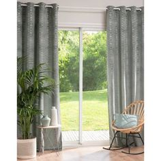Grey Eyelet Curtain with Graphic Motifs 140 x 250 on Maisons du Monde. Grey Eyelet Curtains, Tie Top Curtains, Net Curtains, Curtains Ready Made, Parasols, Interior Inspiration, Perfect Fit, Bedroom, Home Decor