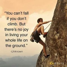 """""""You can't fall if you don't climb. But there's no joy in living your whole life on the ground."""""""