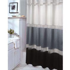 Black and Gray Fabric Shower Curtain with Metallic Silver Accent ...