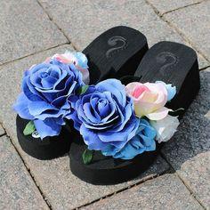 SexeMara 2017 New Summer Slippers Women Fashion Flip Flops Beach Platform Sandals Ladies Handmade Flowers Wedge Jelly Shoes S054