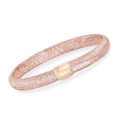 Ross-Simons - Italian 14kt Rose and Yellow Gold Mesh Bangle Bracelet - #860245