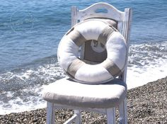 Lifebuoy Pillow Beach Cottage Chic Style Nautical by PrivateDock