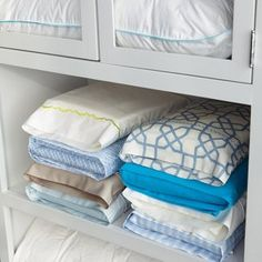 Most Brilliant Way To Fold And Store Bed Sheets. Would Konmari Fold Sheets This Way? This allow more sheets to fit in your linen closet.