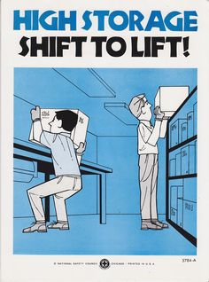 Vintage Workplace Safety Poster 1960s National Safety Council - High Storage. $12.95, via Etsy.