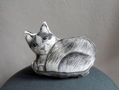 Cat  Plush, Handpaint Cat Mini Decorative Pillow, cat pillow, cat soft sculpture , gift for pet lovers