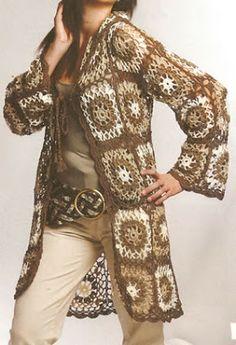 Lindo chaleco tejido a crochet con cuadros de colores ideal para las tardes de otoño, talla 42-44 OjoconelArte.cl |