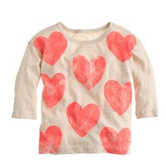 Girls' printed hearts tee : collectible tees | J.Crew