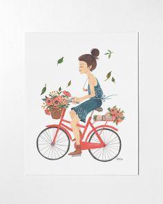 Girl on Bike - 8x10 art print