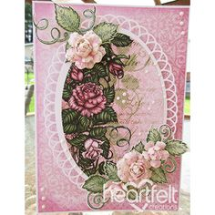 Pink Rose Oval w/ Blushing Rose collection from Heartfelt Creations. #heartfeltcreations