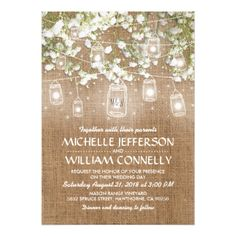 Baby's Breath Rustic Wedding Invite Extra Details - monogram gifts unique custom diy personalize