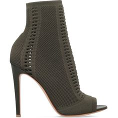 GIANVITO ROSSI Vires 100 stretch-knit shoe boots ($855) ❤ liked on Polyvore featuring shoes, boots, ankle booties, heels, khaki, heeled boots, cutout booties, high heel booties, spiked heel booties and peep toe heel booties