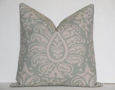 Decorative Pillow Cover / 20 x 20 /Throw Pillow / Accent Pillow / IKAT / Seafoam  Blue / Natural / Sofa Pillow. $42.00, via Etsy.