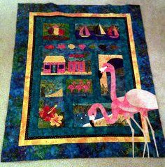 flamingo, tropical, quilt, batik, vibrant, applique