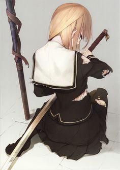 Manga Mädchen in Schuluniform mit Katana ... guckt über Schulter